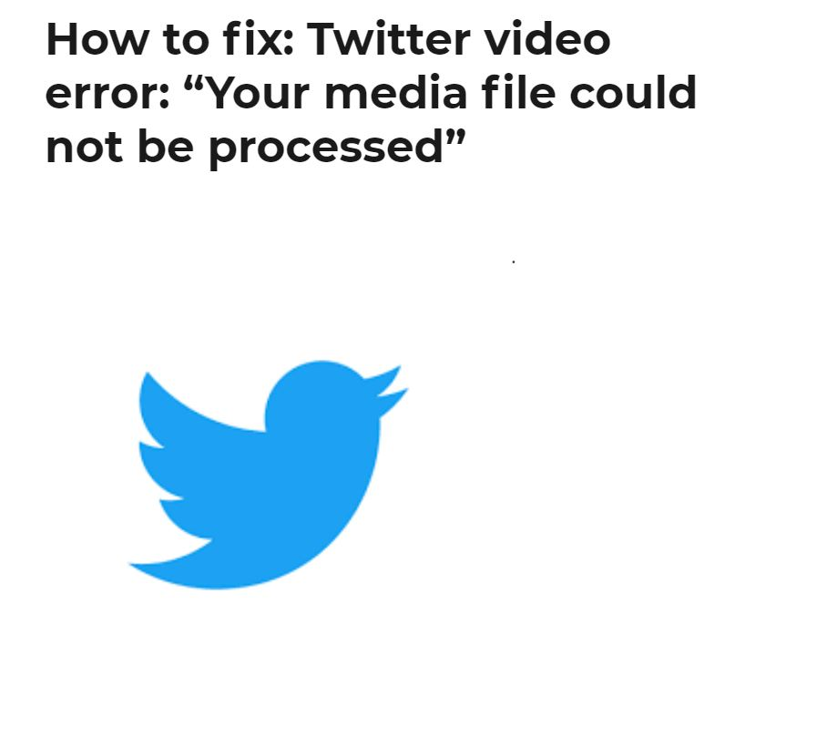 """How to fix: Twitter video error: """"Your media file could not be processed"""""""