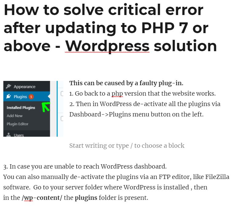How to solve critical error after updating to PHP 7 or above – WordPress solution