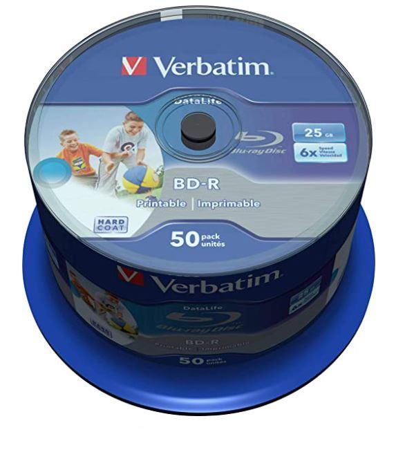 Difference between Verbatim Blank Blu-ray BD-R 43812 vs 43838 spindle Datalife 25GB 6x